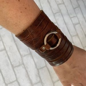 """Jewelry - Leather boho cuff with silver """"O"""" ring - OS"""